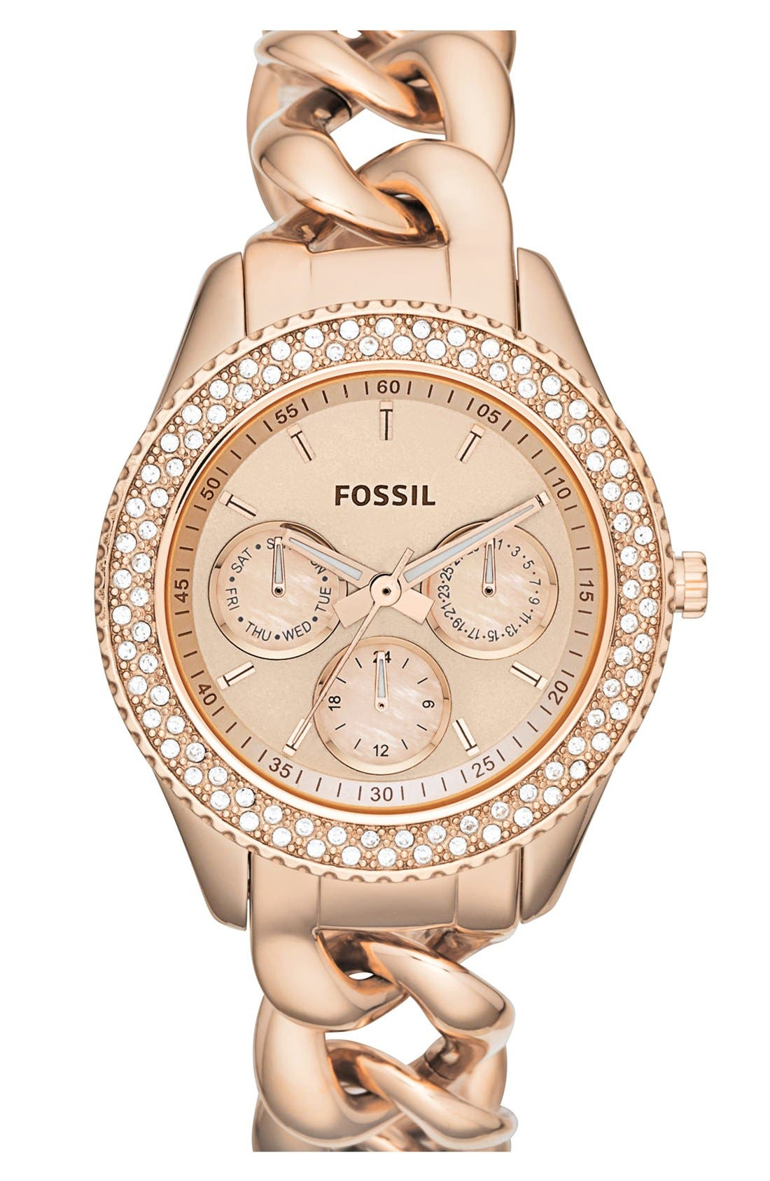 Main Image - Fossil 'Stella' Crystal Bezel Multifunction Chain Bracelet Watch, 37mm