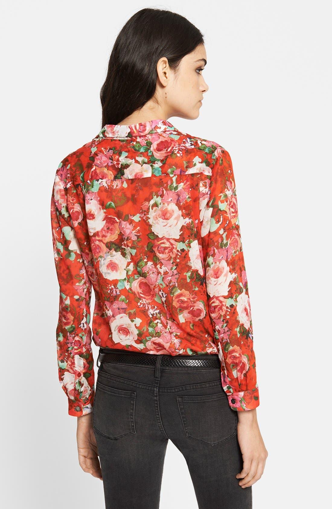 Alternate Image 2  - The Kooples Floral Print Cotton Blouse