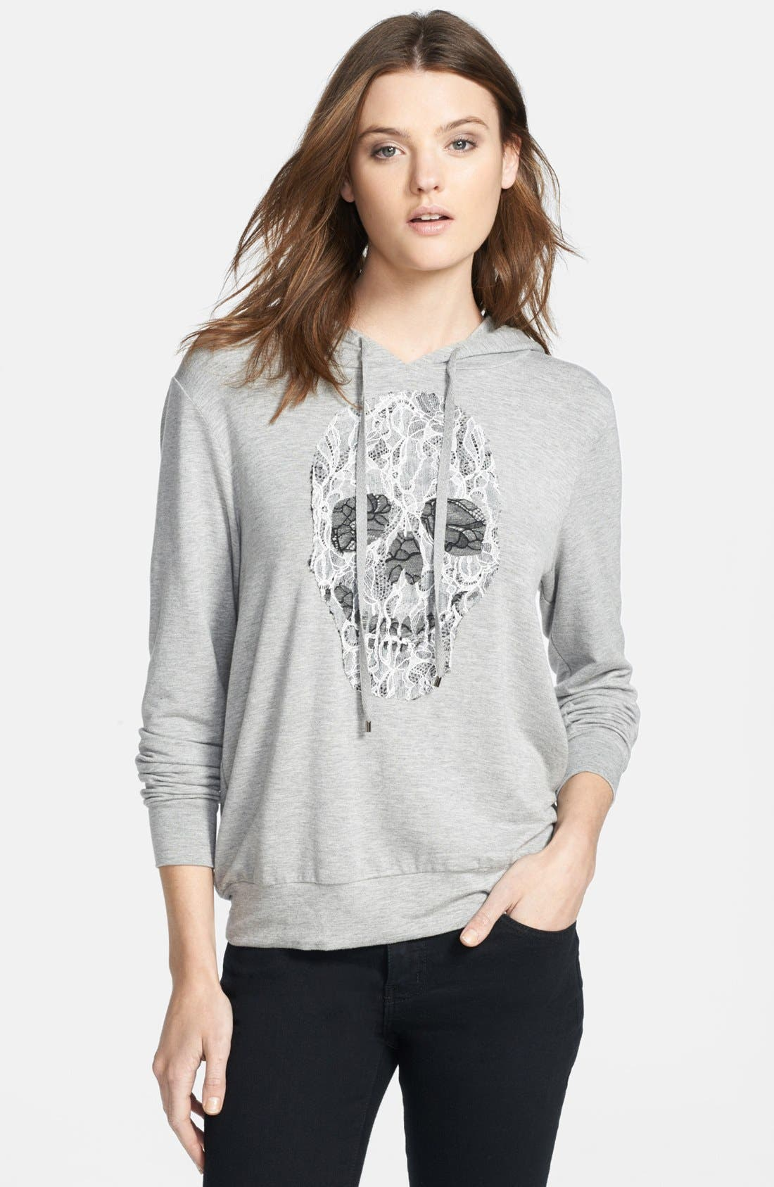 Main Image - Haute Hippie Embroidered Lace Skull Hoodie