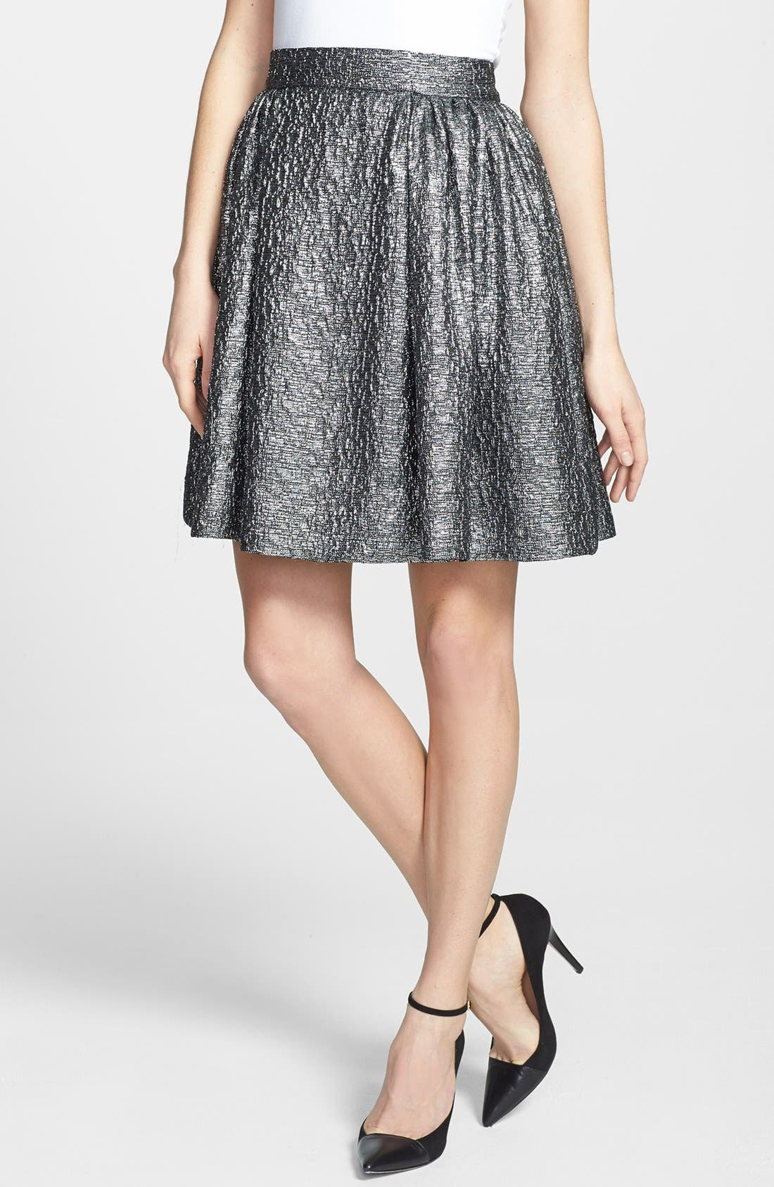Main Image - kate spade new york 'aimee' metallic textured pleat skirt