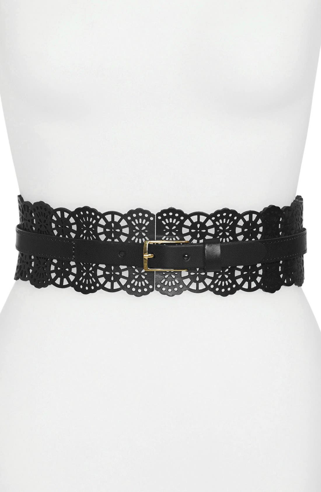 Alternate Image 1 Selected - Hinge® Perforated Leather Belt