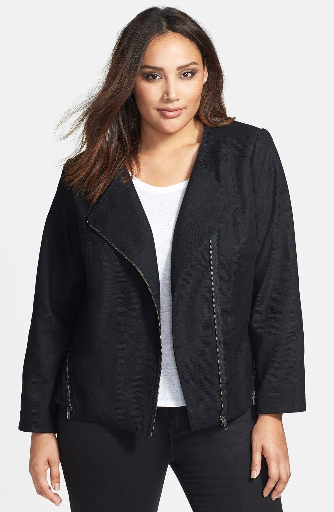 Main Image - Sejour Stretch Cotton Zip Jacket (Plus Size)