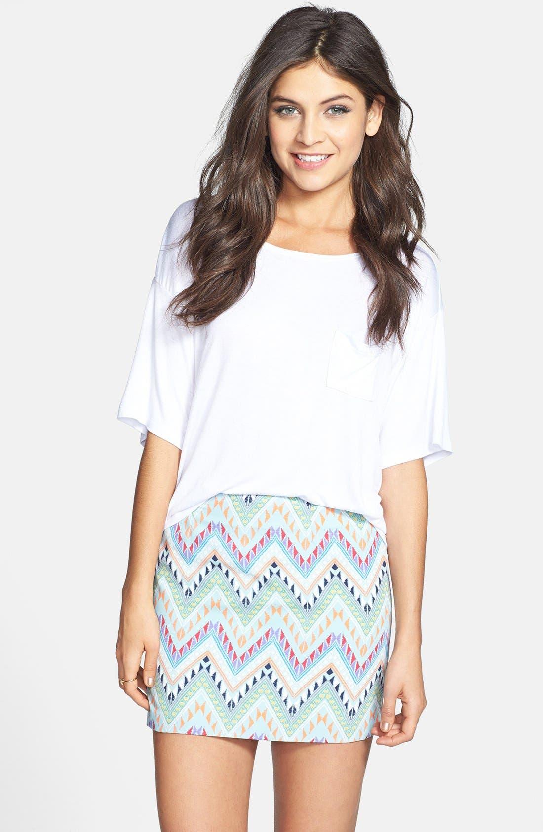 Alternate Image 1 Selected - Lush Print Miniskirt (Juniors) (Online Only)
