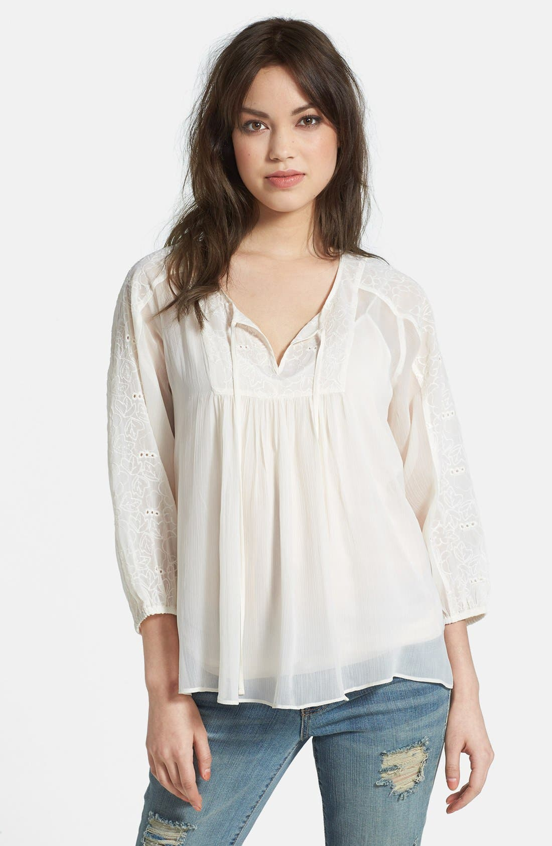 Main Image - Jessica Simpson 'Symphony' Embroidered Peasant Blouse