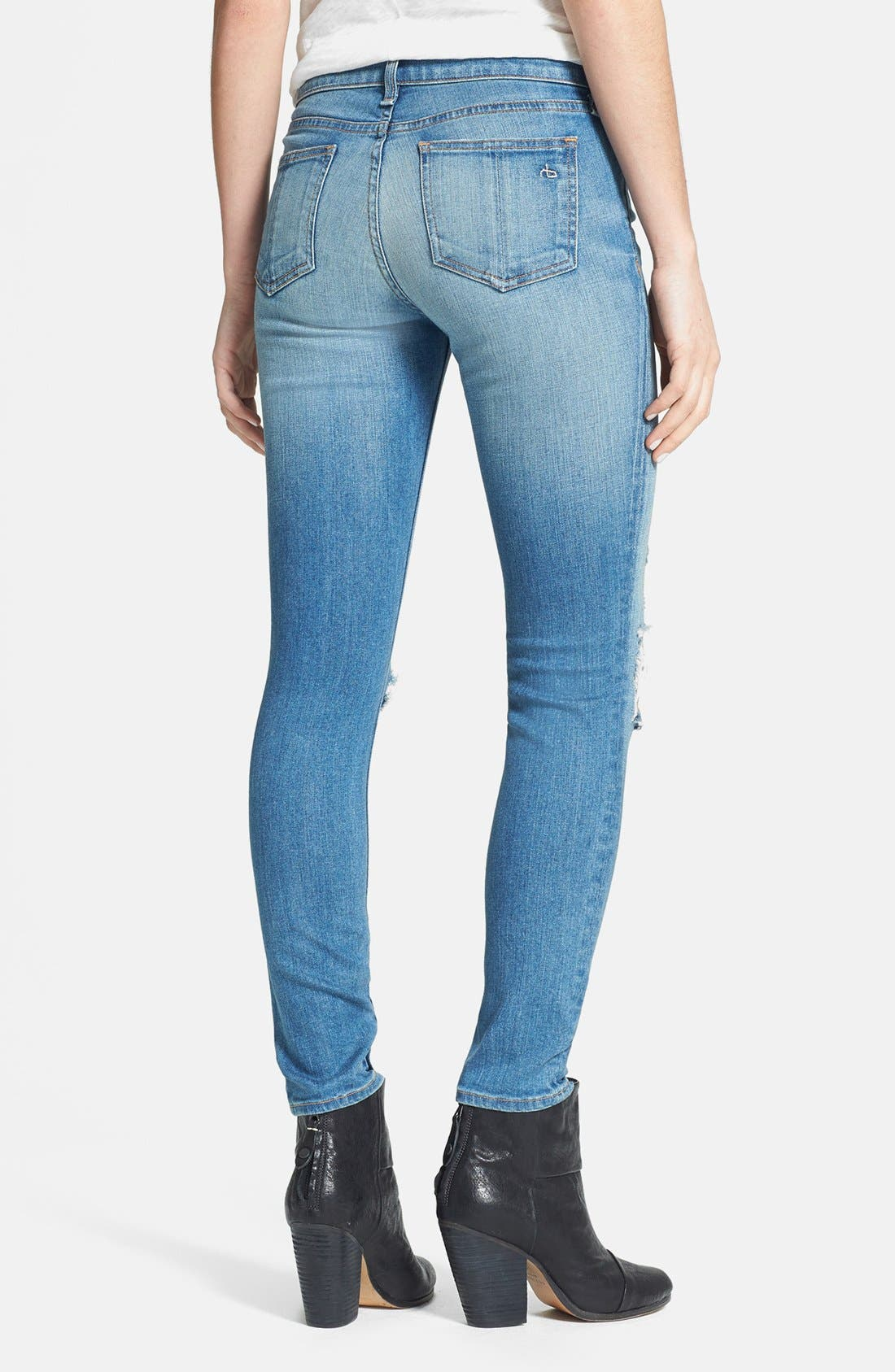 Alternate Image 2  - rag & bone/JEAN Destroyed Skinny Ankle Jeans (Shredded)