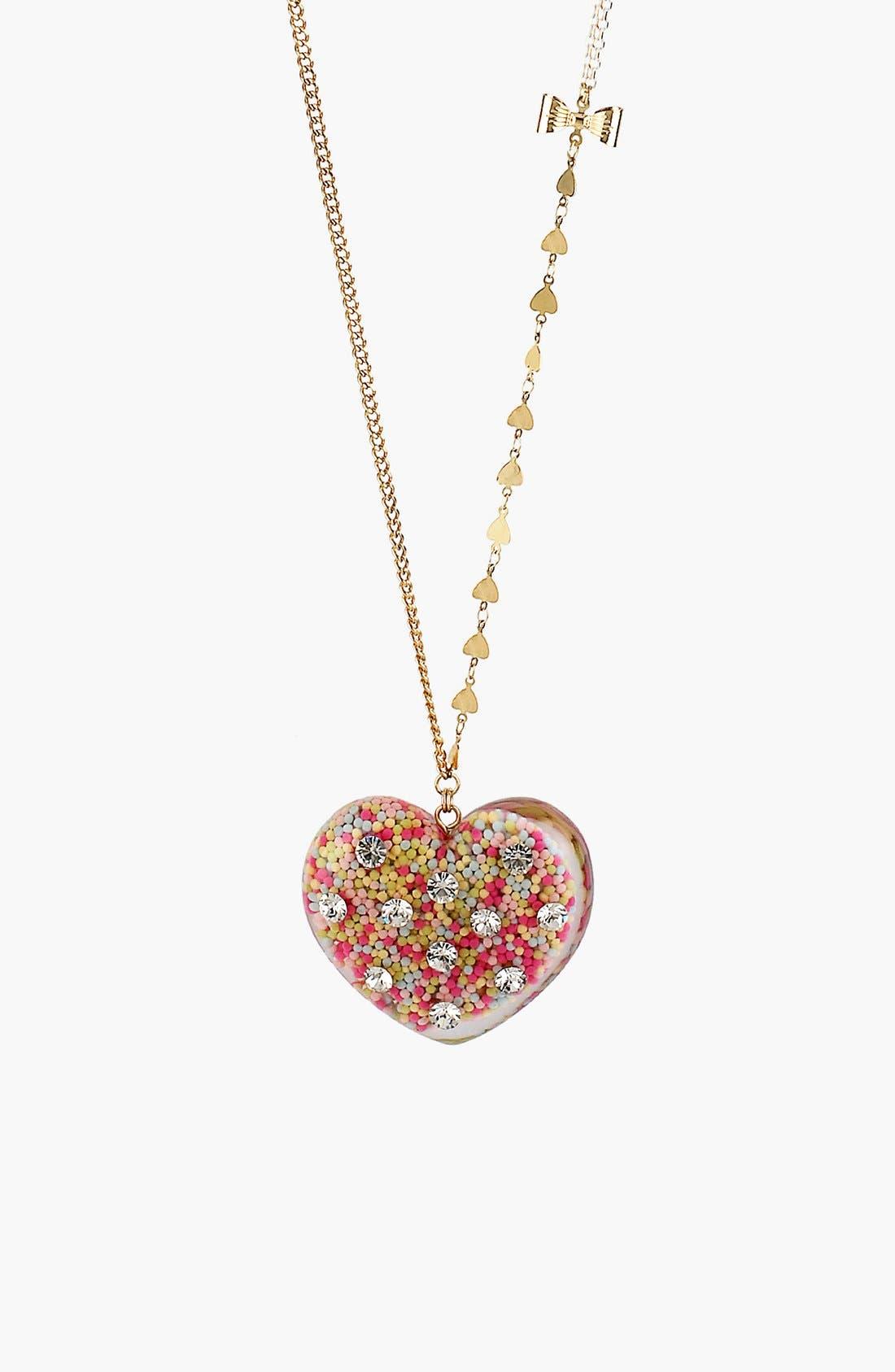 Alternate Image 1 Selected - Betsey Johnson 'Vintage Bow' Long Heart Pendant Necklace