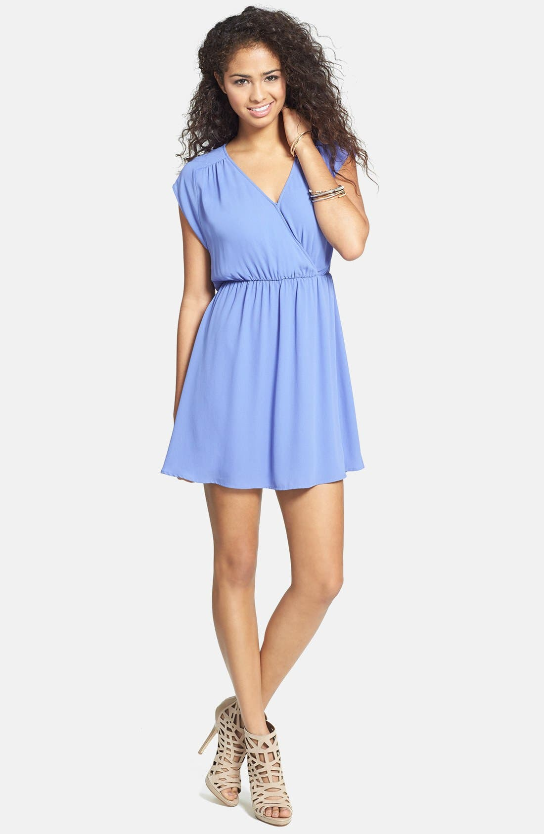 Main Image - Lush 'Katie' Surplice Chiffon Skater Dress