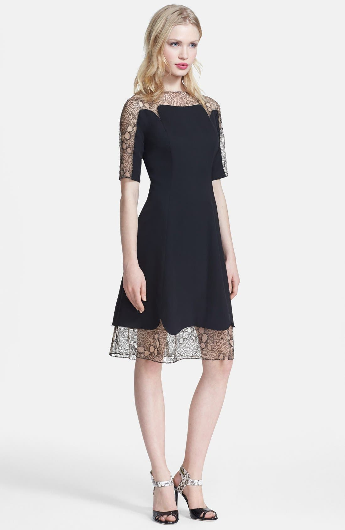Alternate Image 1 Selected - Lela Rose Tulle Inset Fit & Flare Dress