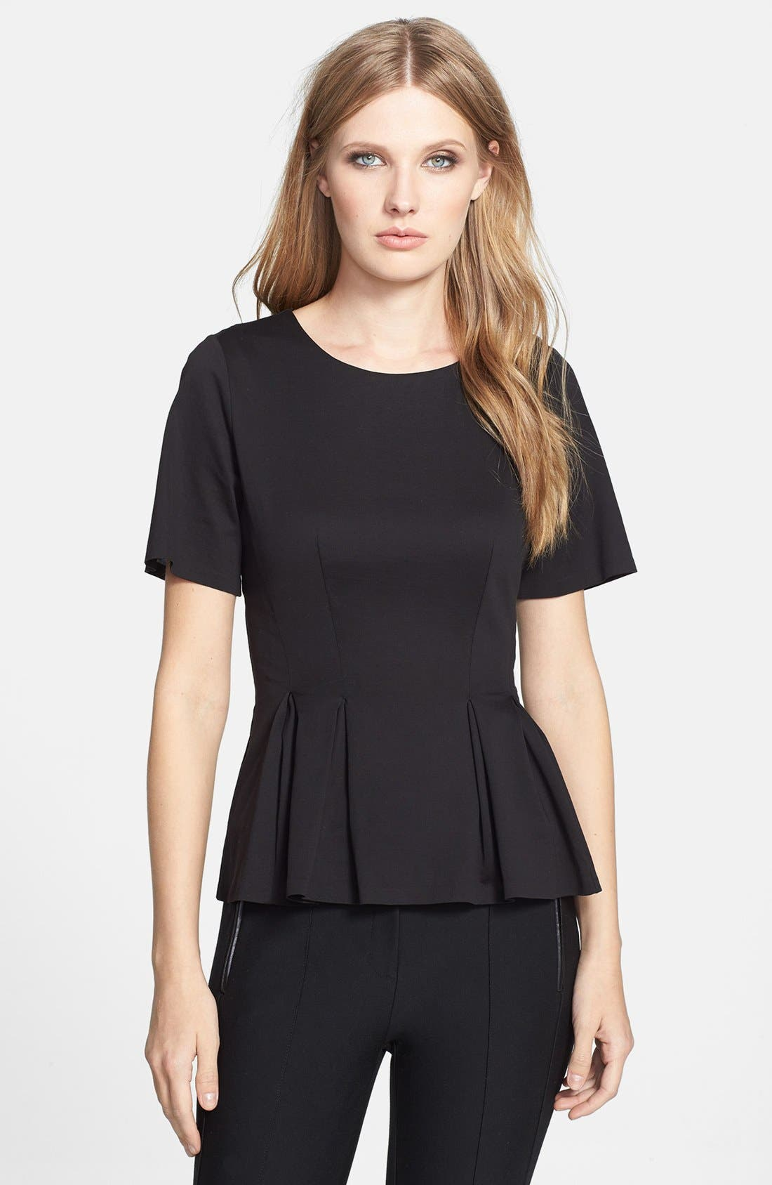 Alternate Image 1 Selected - Rebecca Taylor Short Sleeve Peplum Jersey Top