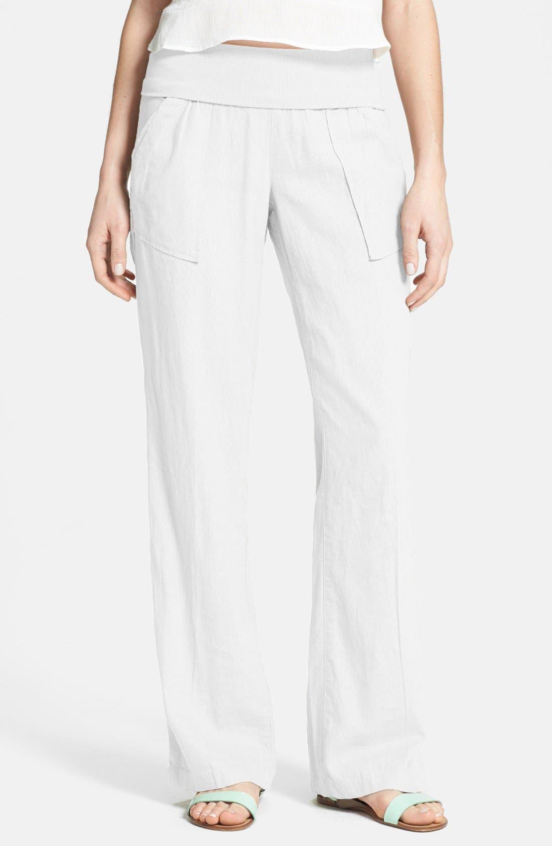Main Image - Jolt Foldover Linen Blend Pants (Juniors)