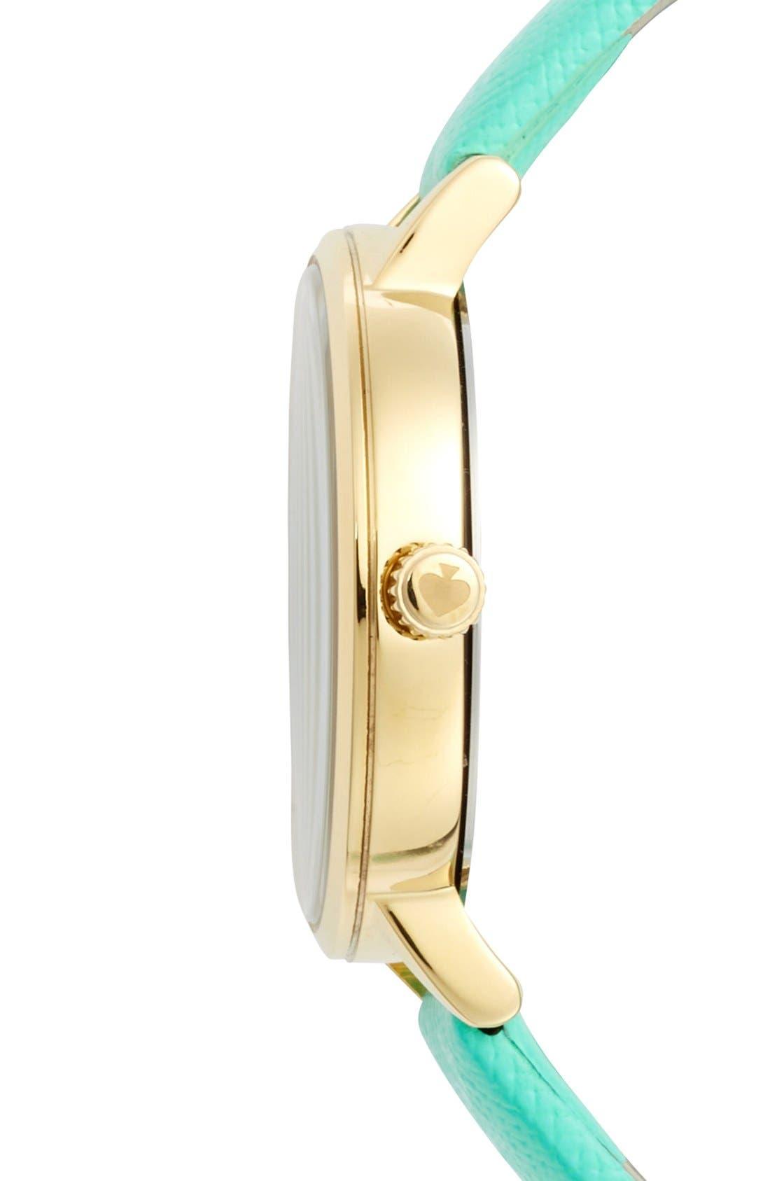 Alternate Image 3  - kate spade new york 'metro' round leather strap watch, 34mm