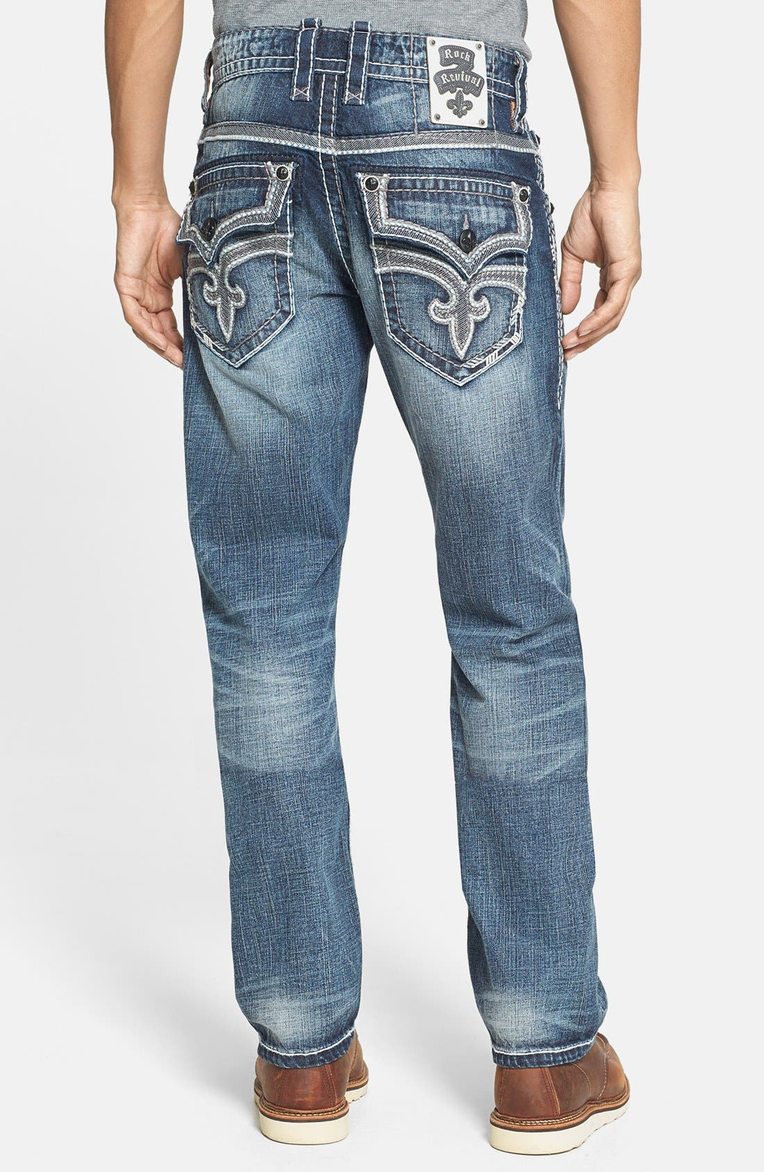 Alternate Image 1 Selected - Rock Revival 'Humfrey' Straight Leg Jeans (Medium Blue)