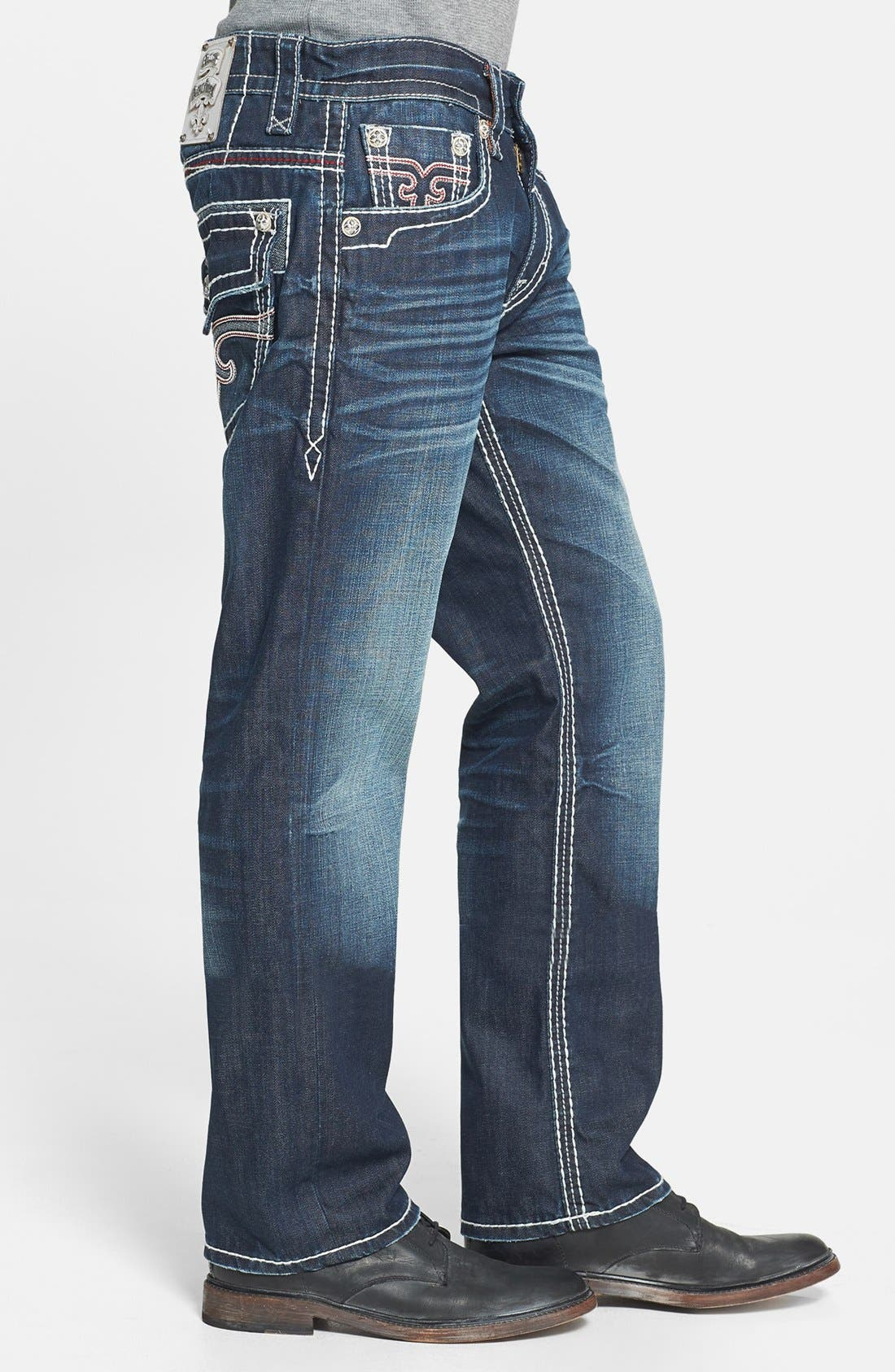 Alternate Image 3  - Rock Revival 'Grayson' Straight Leg Jeans (Dark Blue)