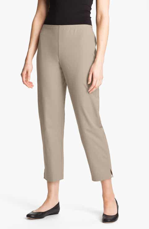 Eileen Fisher Organic Stretch Cotton Twill Ankle Pants (Regular   Petite)
