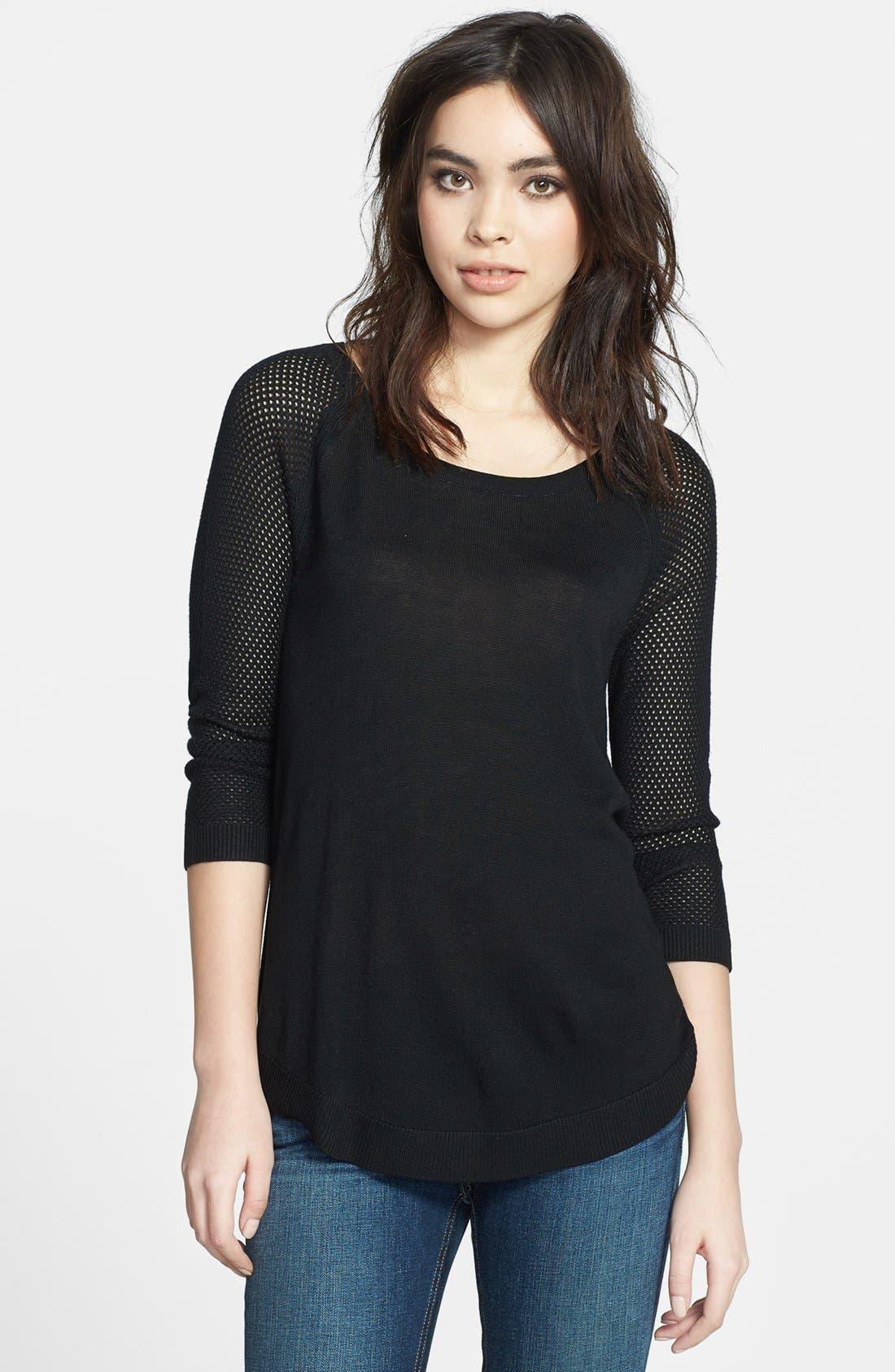 Main Image - rag & bone/JEAN Open Knit Sleeve Pullover
