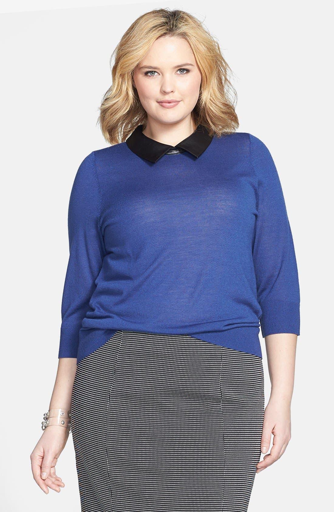 Main Image - Sejour Faux Leather Collar Sweater (Plus Size)