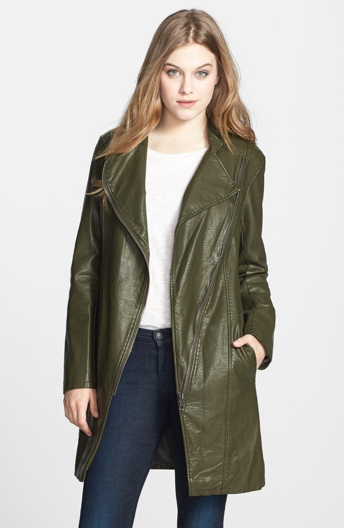 Alternate Image 1 Selected - BB Dakota 'Eureka' Faux Leather Long Coat