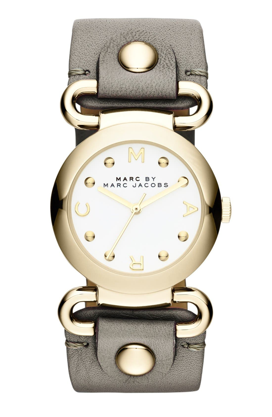 Alternate Image 1 Selected - MARC BY MARC JACOBS 'Small Molly' Leather Strap Watch, 30mm