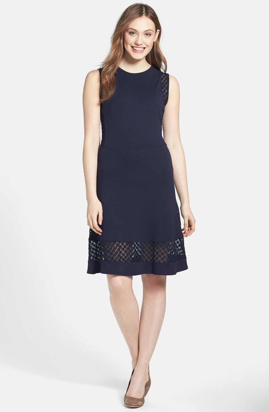 Main Image - French Connection Lace Inset Jersey Fit & Flare Dress