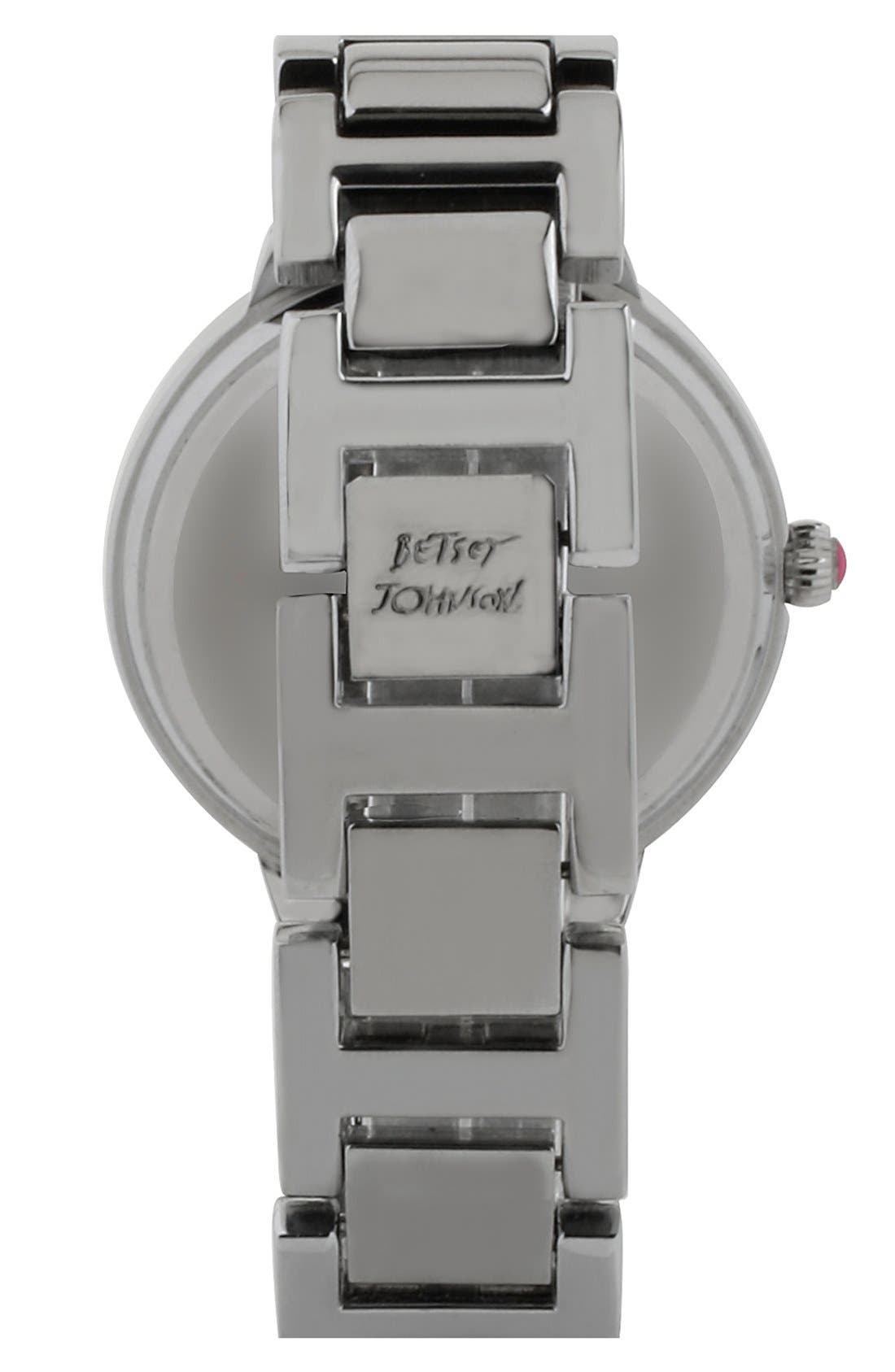 Alternate Image 2  - Betsey Johnson Crystal Index Bracelet Watch, 39mm