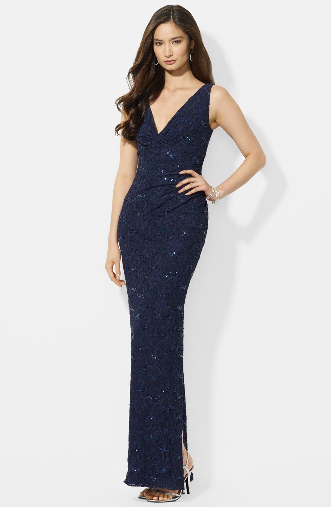 Main Image - Lauren Ralph Lauren Sequin Lace Gown