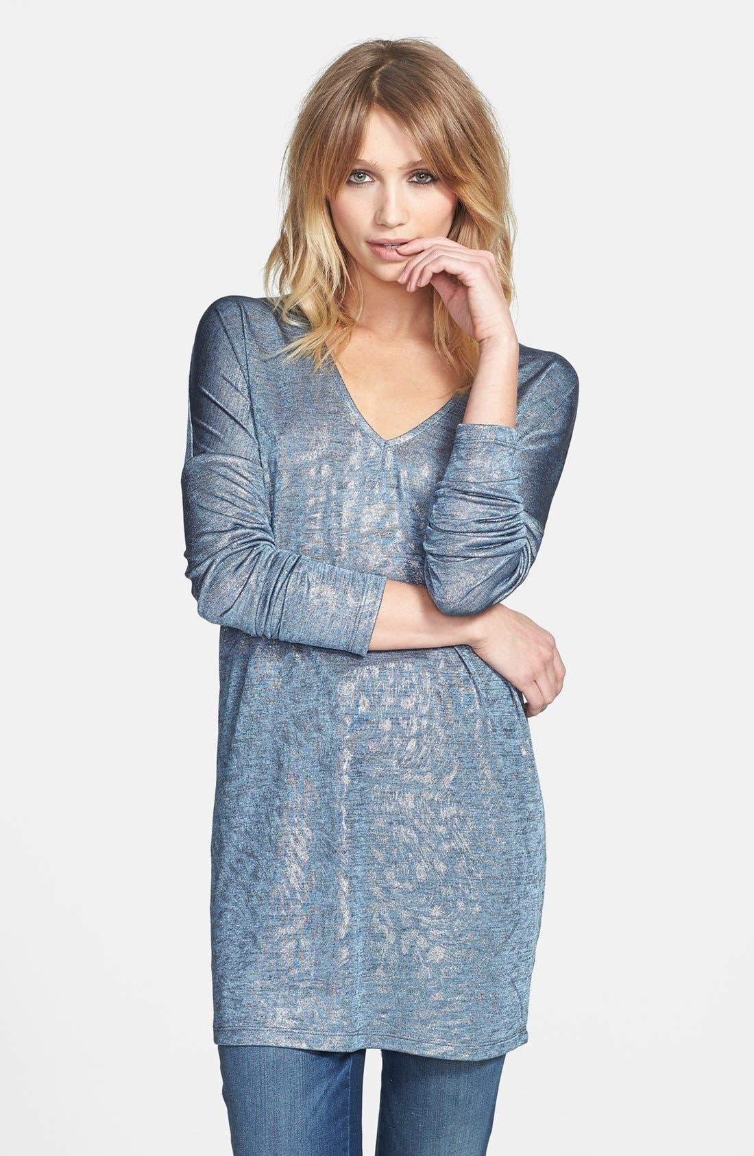 Alternate Image 1 Selected - June & Hudson V-Neck Metallic Tunic Sweater