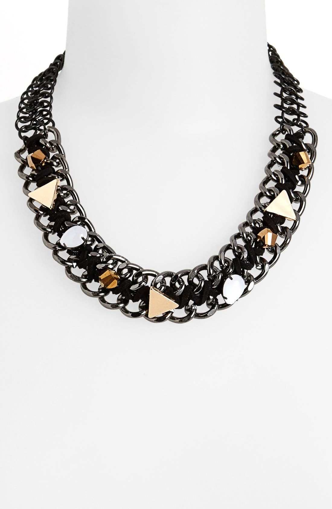 Main Image - Topshop Beaded Curb Chain Collar Necklace