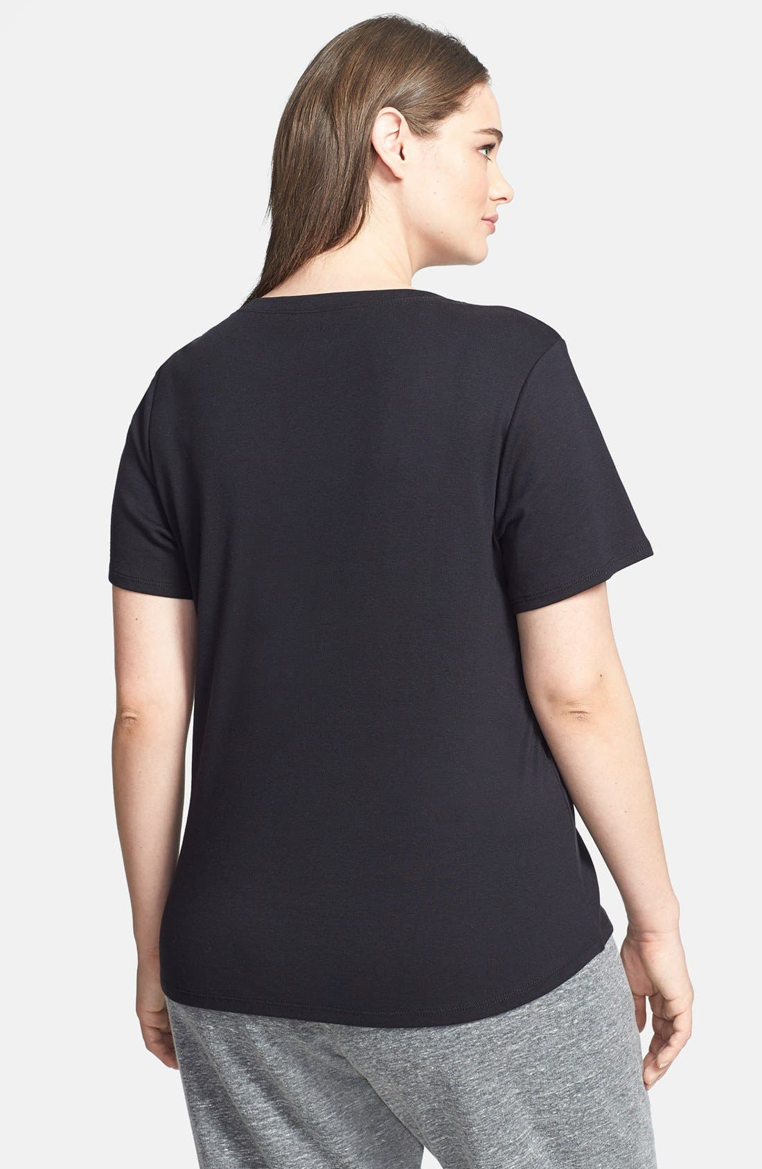 Alternate Image 2  - Sejour Short Sleeve V-Neck Tee (Plus Size)