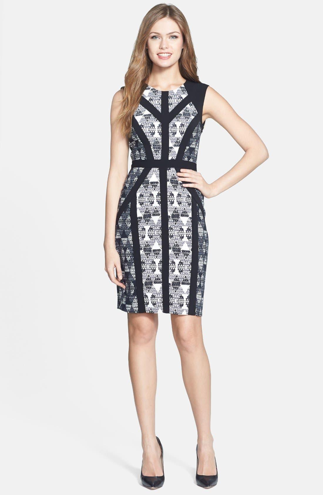 Main Image - BCBGMAXAZRIA 'Holly' Print Stretch Crepe Sheath Dress