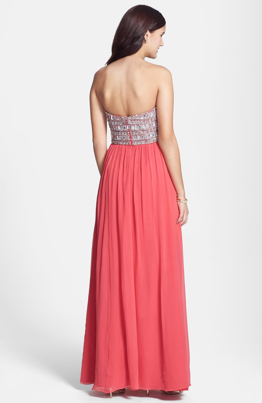 Alternate Image 2  - Sean Collection Embellished Silk Georgette Strapless Gown