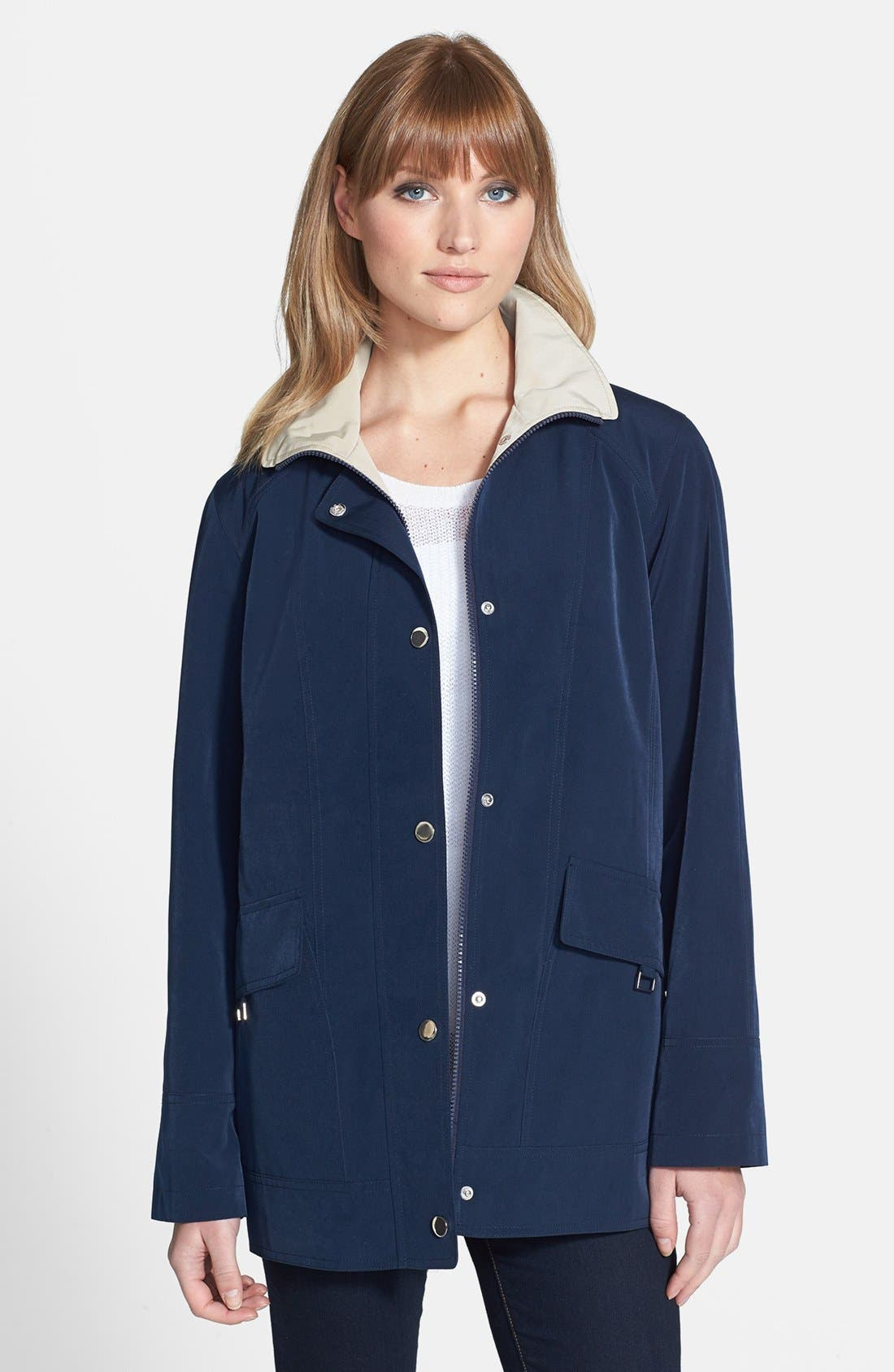 Alternate Image 2  - Gallery Convertible Collar A-Line Coat with Detachable Hood (Regular & Petite) (Online Only)