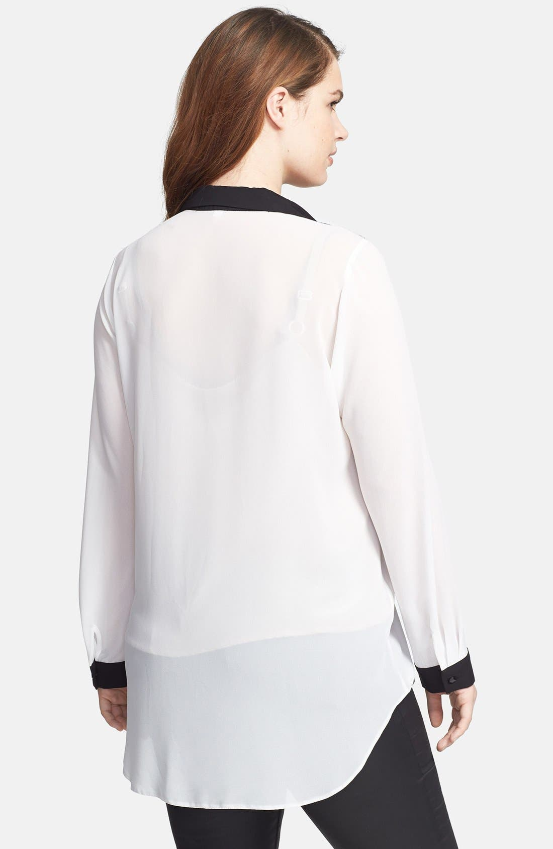 Alternate Image 2  - Evans Lace Yoke Blouse (Plus Size)