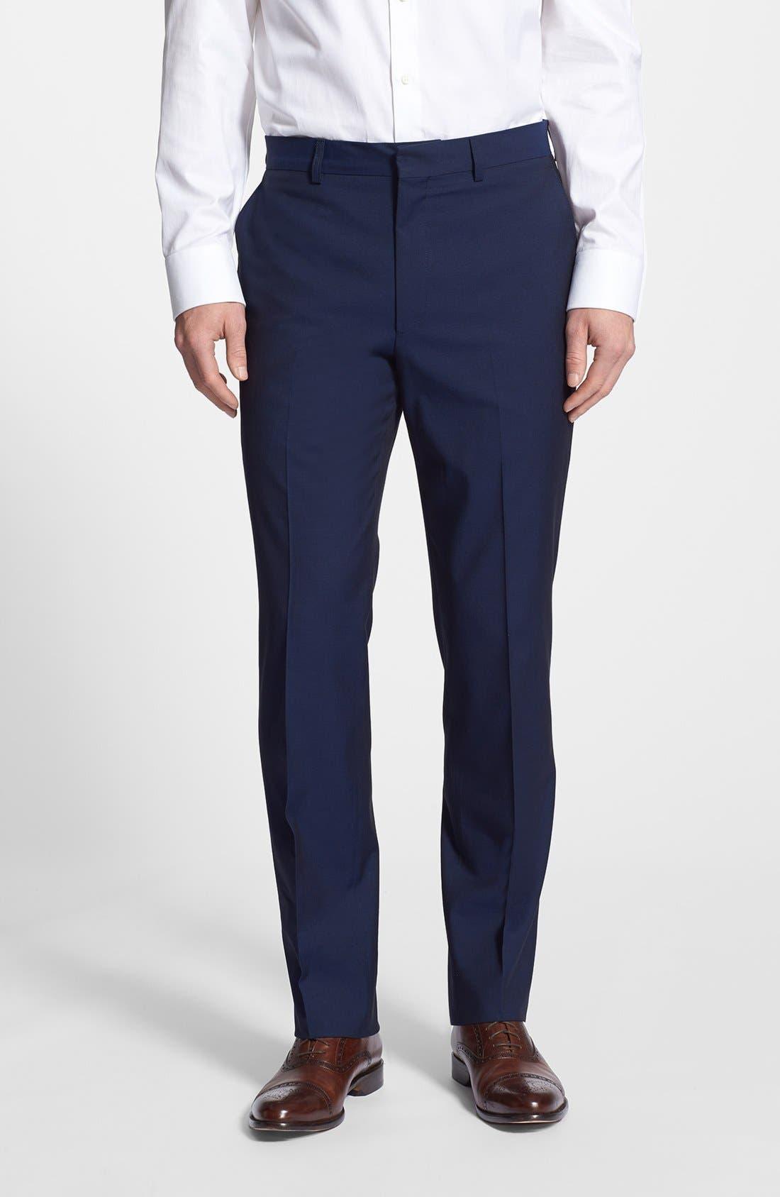 Main Image - Linea Natural Trim Fit Flat Front Cotton Trousers (Nordstrom Exclusive)