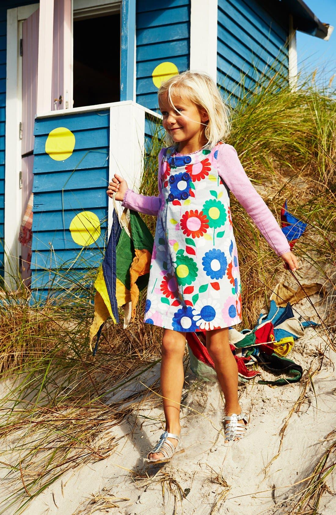 Alternate Image 2  - Mini Boden Button Pinafore Dress (Toddler Girls, Little Girls & Big Girls)