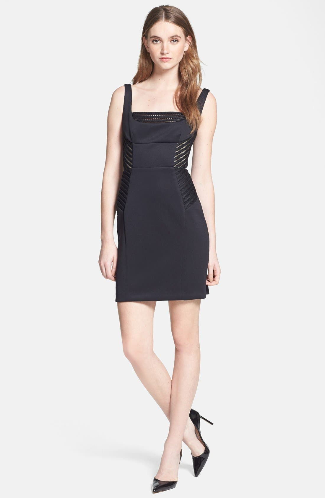 Alternate Image 1 Selected - Milly Mesh Insert Woven Sheath Dress