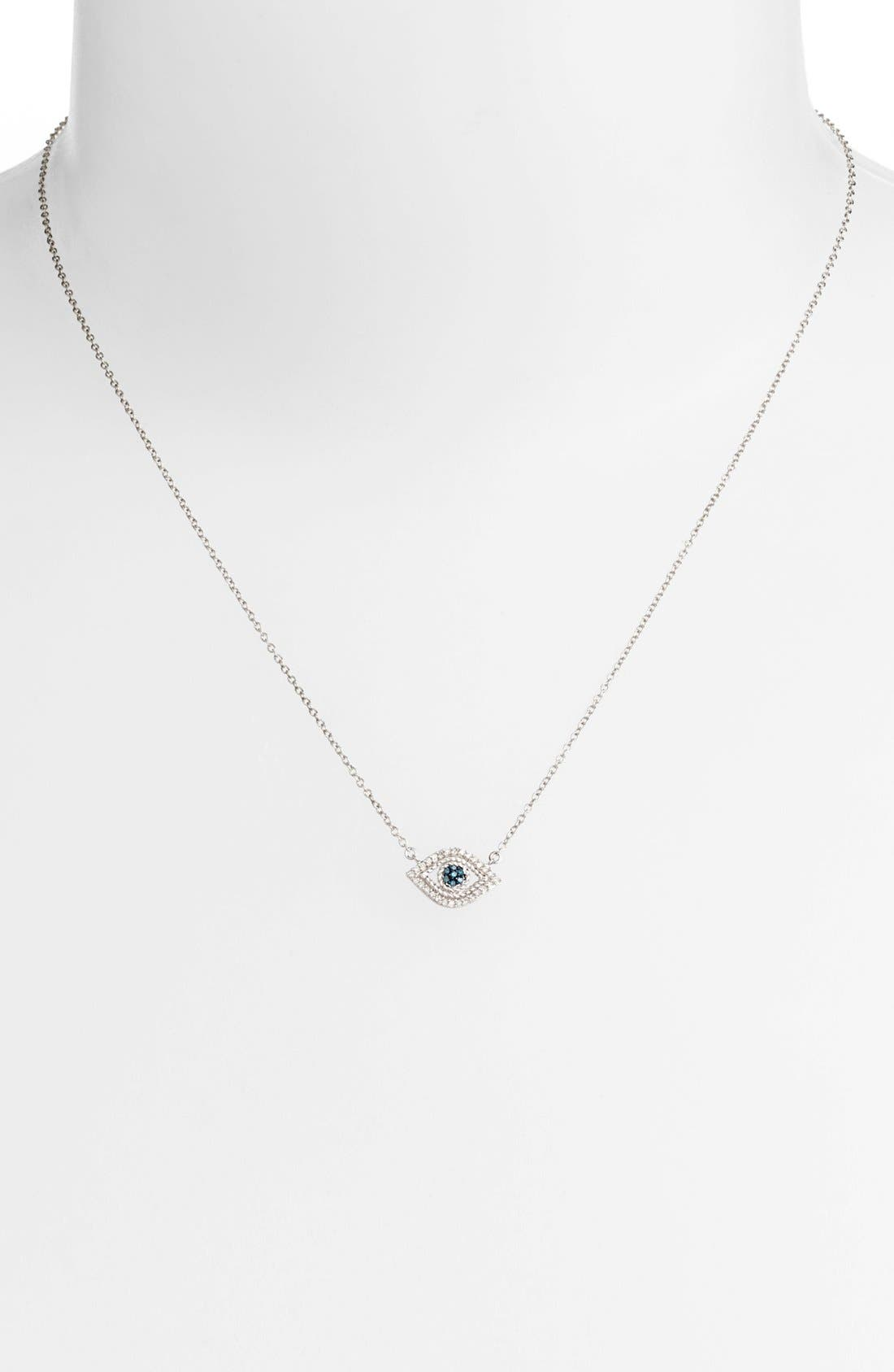 Alternate Image 2  - Adina Reyter 'Evil Eye' Diamond & Sapphire Pendant Necklace