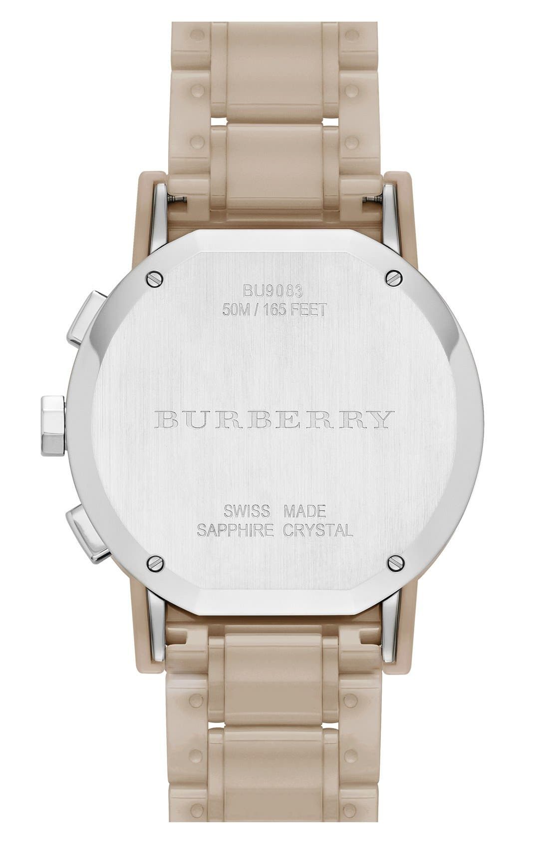 Alternate Image 3  - Burberry Check Stamped Chronograph Ceramic Bracelet Watch, 38mm