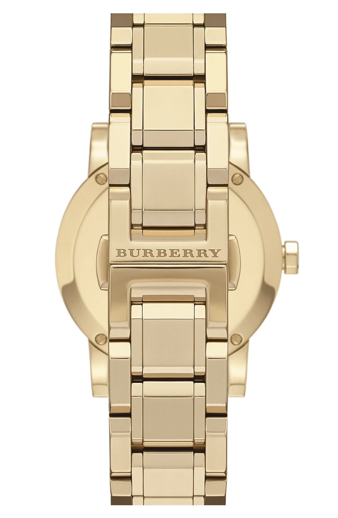 Alternate Image 2  - Burberry Check Stamped Round Bracelet Watch, 34mm