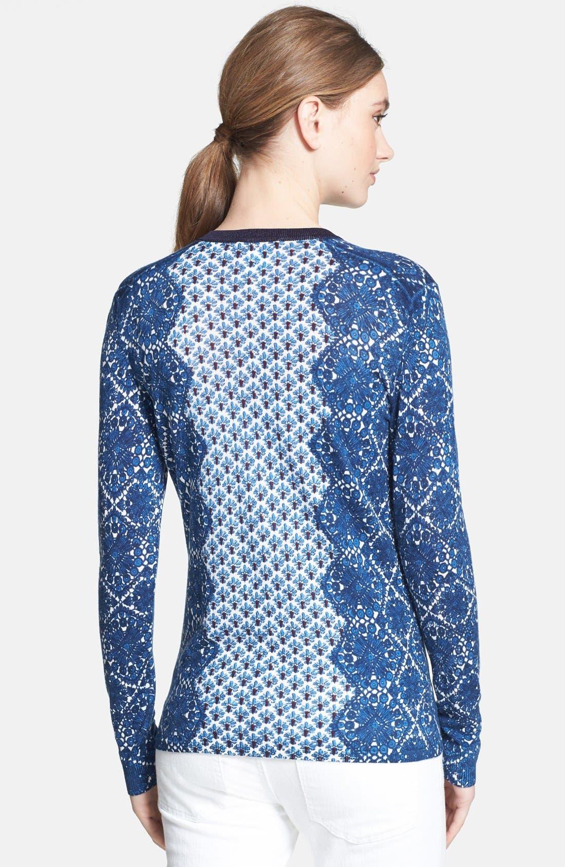 Alternate Image 2  - Tory Burch 'Diana' Print Merino Wool Cardigan