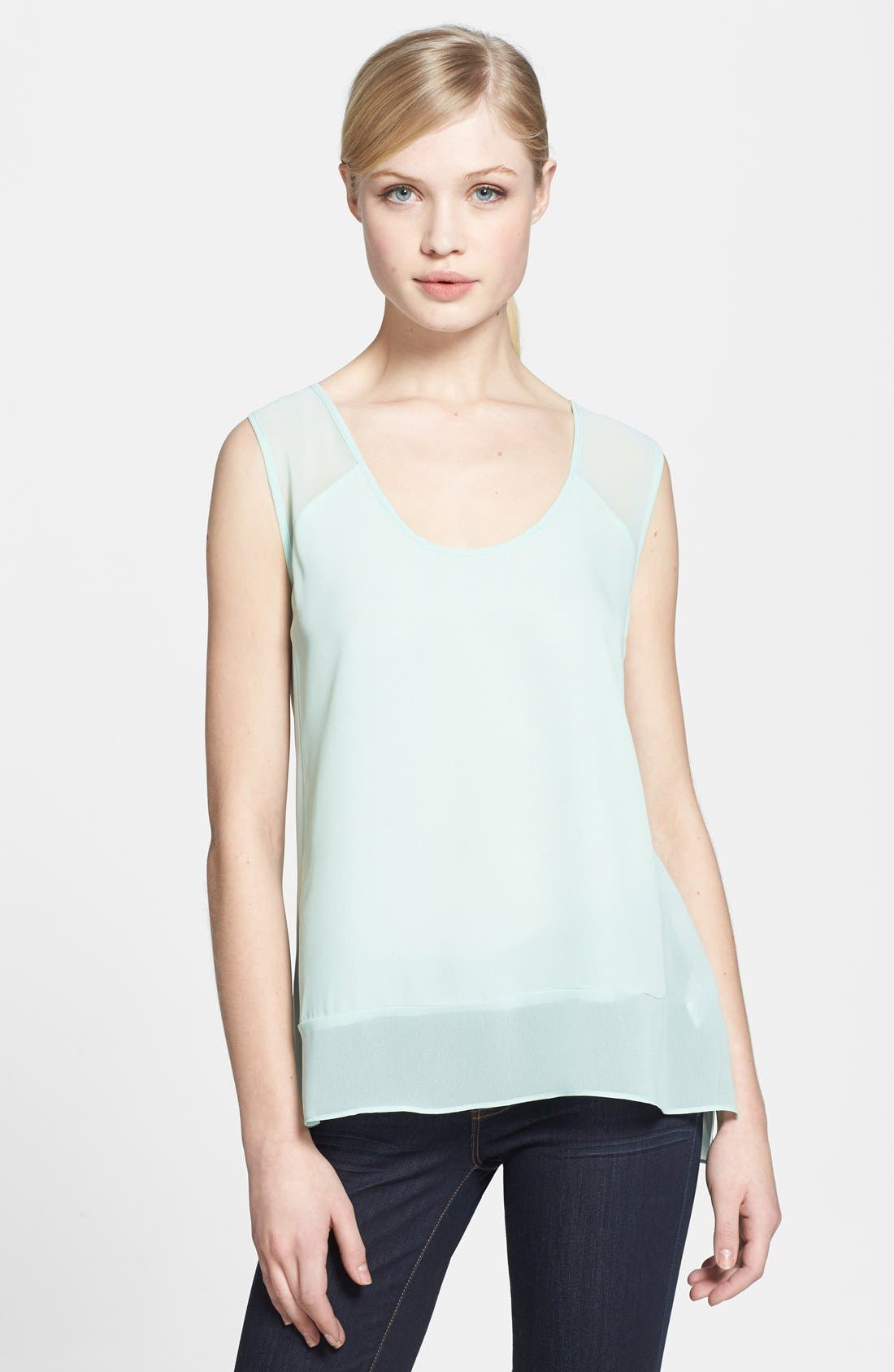 Alternate Image 1 Selected - 1.STATE Sheer Inset Chiffon Top