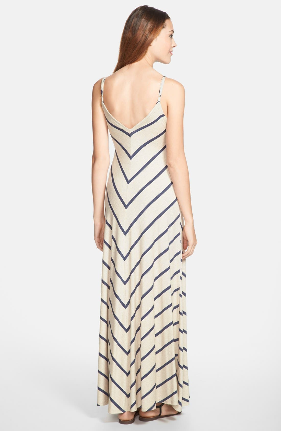Alternate Image 2  - Max & Mia V-Neck Maxi Dress (Regular & Petite)