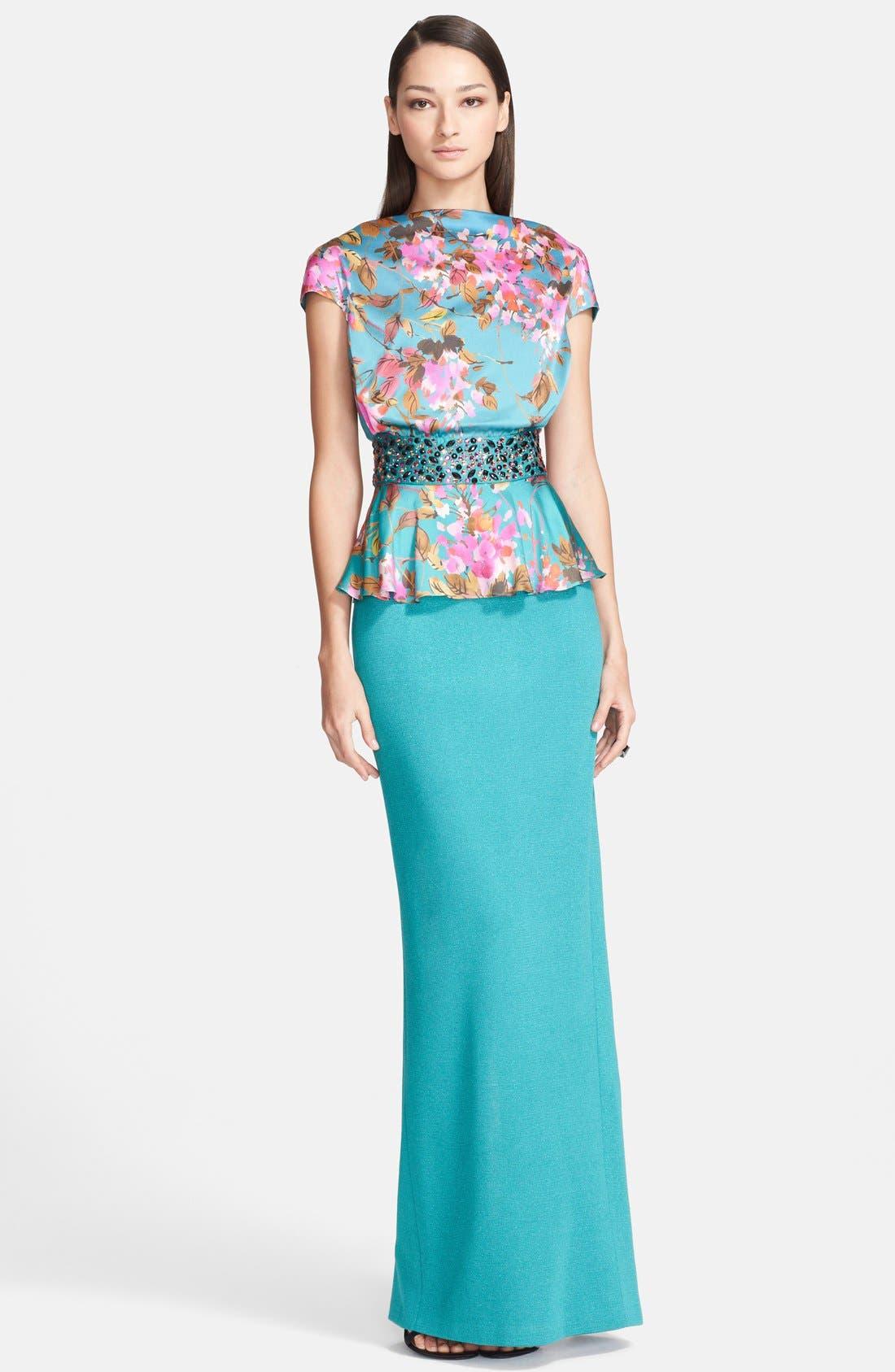 Main Image - St. John Collection Botanical Dégradé Print Charmeuse & Shimmer Milano Knit Gown