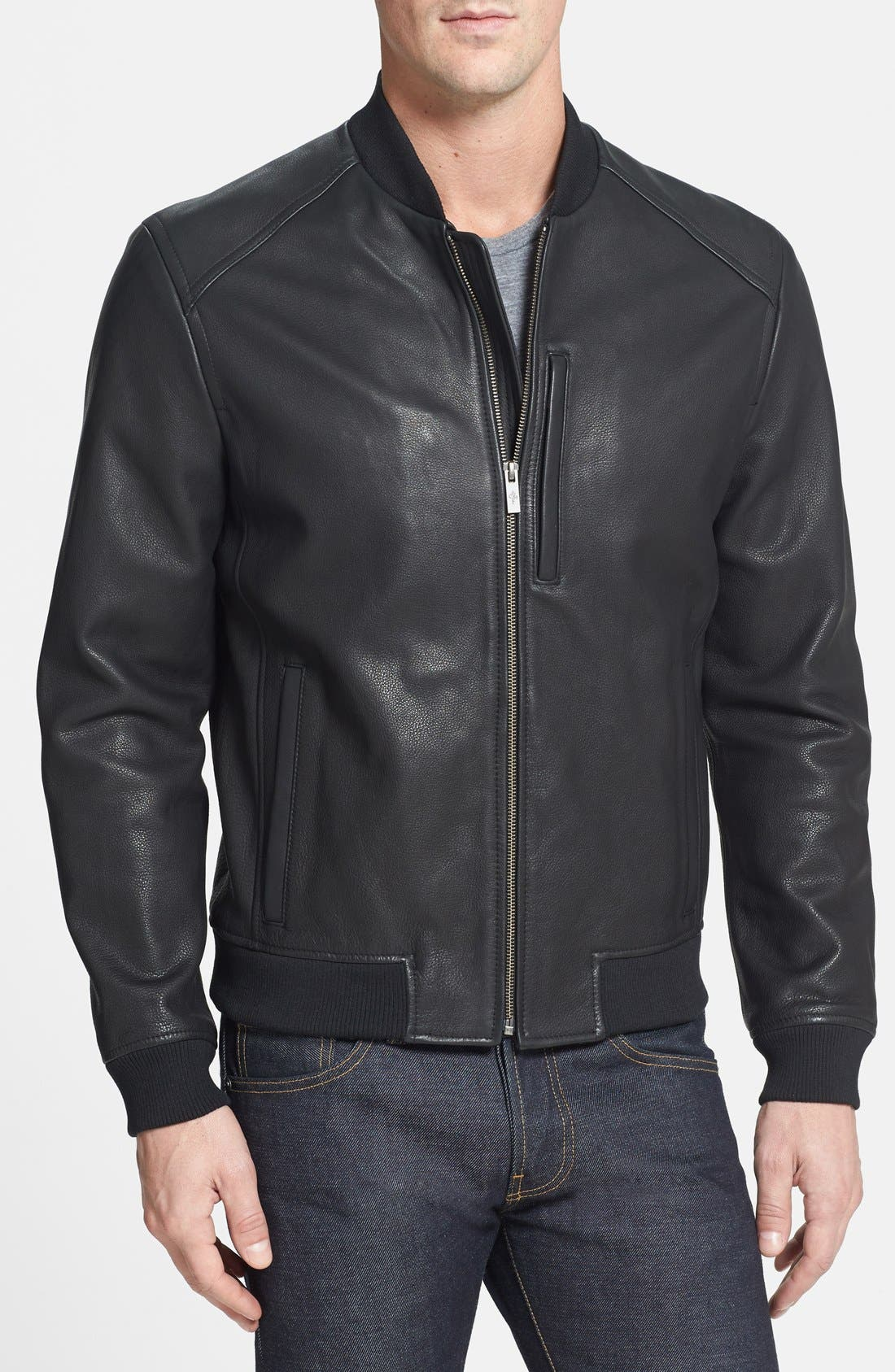 Alternate Image 1 Selected - Cole Haan Leather Bomber Jacket