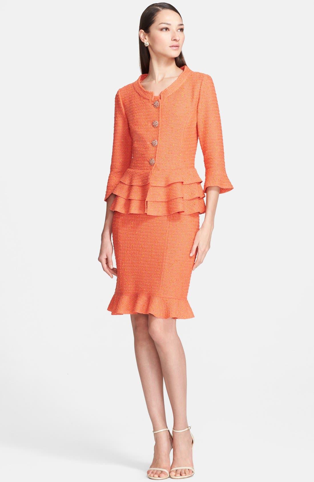 Alternate Image 2  - St. John Collection Flounce Hem Slub Knit Sheath Dress
