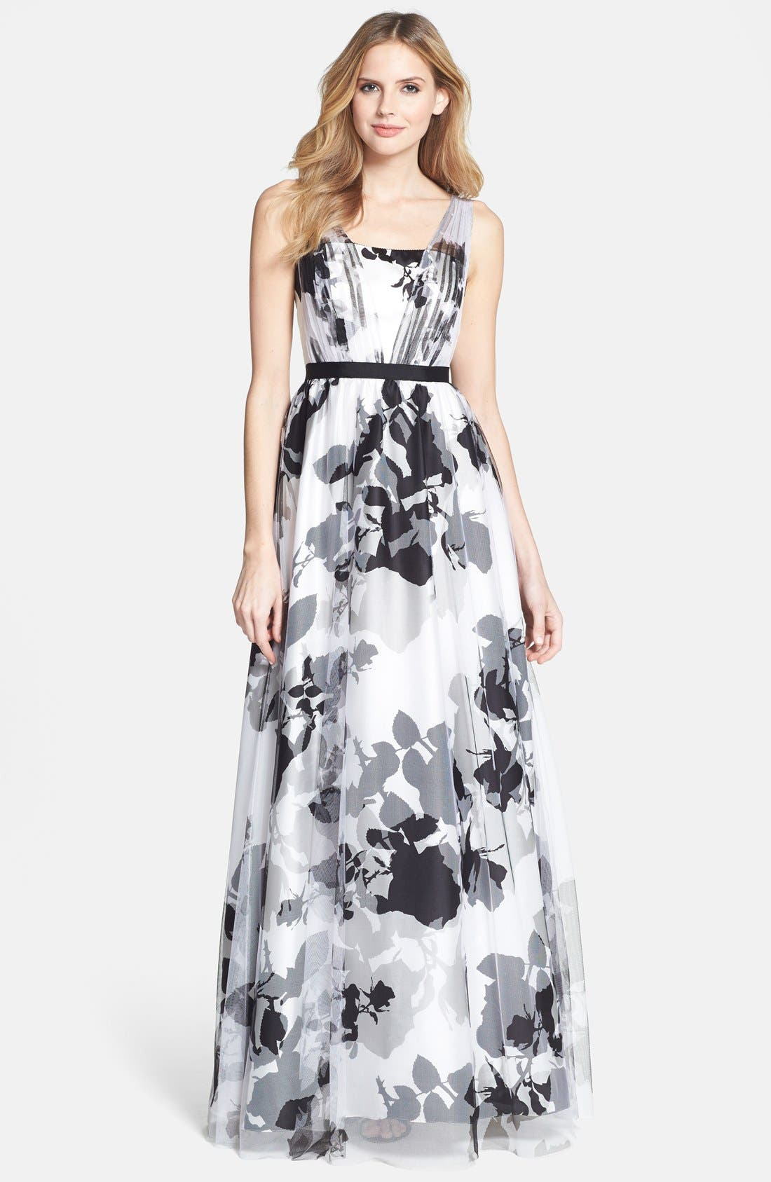 Alternate Image 1 Selected - Adrianna Papell Floral Print Ball Gown