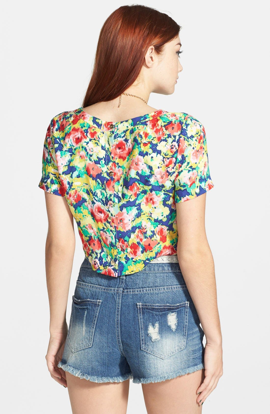 Alternate Image 2  - Socialite Back Button Print Crop Top (Juniors) (Online Only)