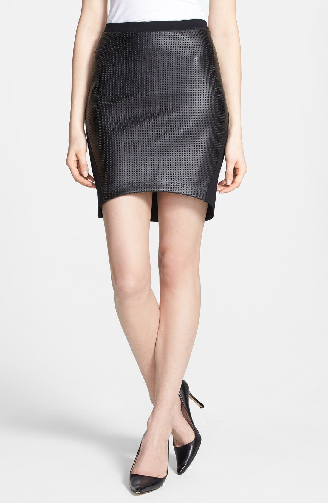 Main Image - Trouvé Perforated Faux Leather Front Skirt