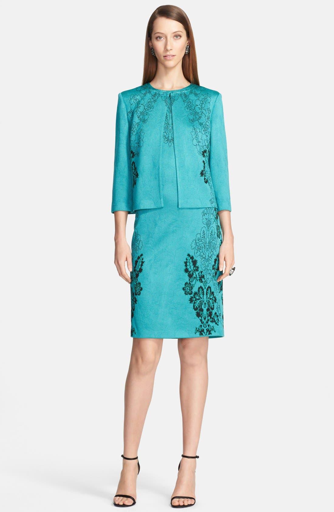 Alternate Image 2  - St. John Collection 'Floral Cascade' Jacquard Knit Sheath Dress