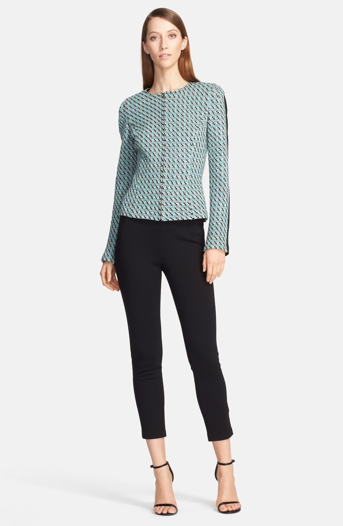 Alternate Image 2  - St. John Collection Broken Houndstooth Tweed & Milano Knit Zip Jacket