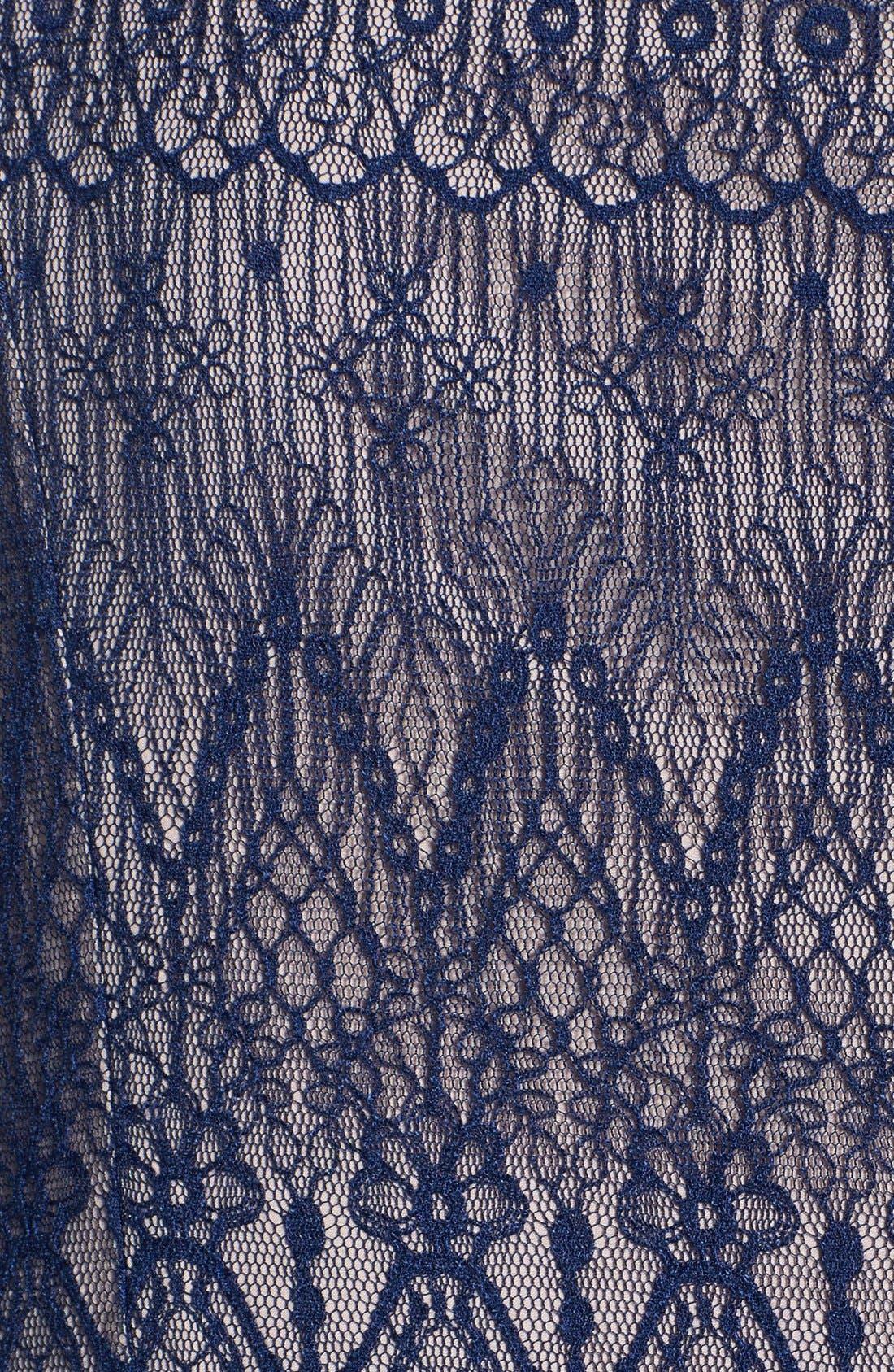 Alternate Image 3  - Adrianna Papell Flutter Sleeve Lace Mermaid Dress (Plus Size)